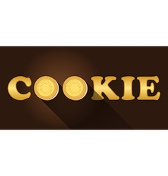 Cookie word with top view of cream cookies vector