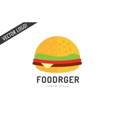 Fast food hamburger logo icon City restaurant vector image