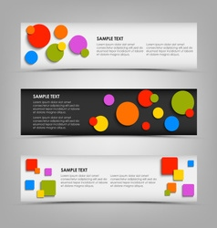 Abstract horizontal banners with colored rounds vector