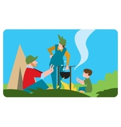 Family of tourist preparing a meal outdoors vector