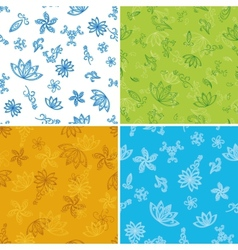 Set abstract seamless floral backgrounds vector