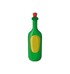 Green bottle of wine icon cartoon style vector