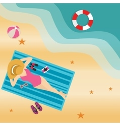 girl woman lying at beach sand sun tanning wearing vector image