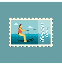 Water skiing stamp summer vacation vector