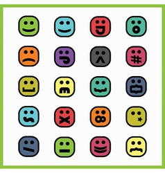 Set of colorful cartoon face icons vector