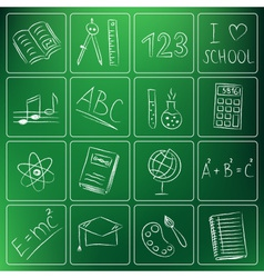 back to school icons chalky vector image vector image