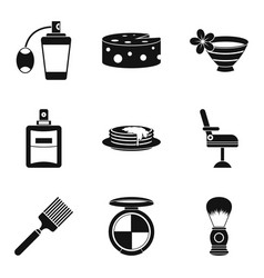 Barber icons set simple style vector