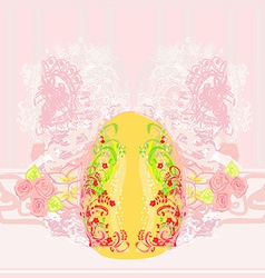 Easter Egg On floral Background vector image
