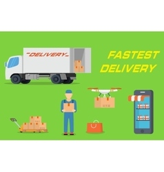 Fastest delivery concept in flat design vector image vector image