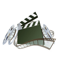 film clapperboard and movie film reels vector image