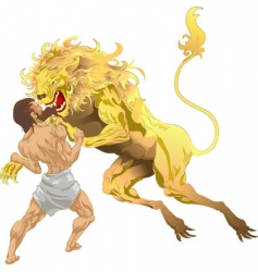 Hercules and the lion vector