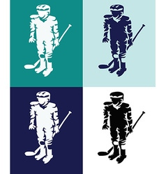 Hockey players mascots silhouettes vector