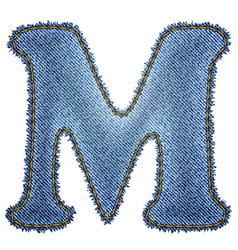 Jeans alphabet denim letter m vector