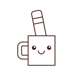 kawaii cup and pencil tool designer cartoon vector image vector image