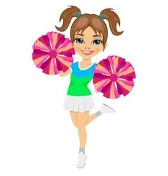 Little cheerleader holding pompoms vector
