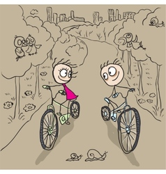Loving couple man and woman on bicycles vector