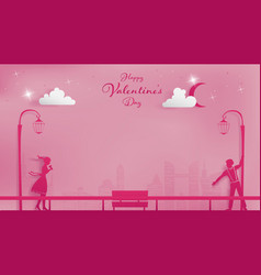 Magical moment in metropolis of valentines vector