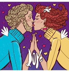 Man kissing woman vector