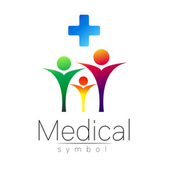 Medical sign with cross family symbol for vector