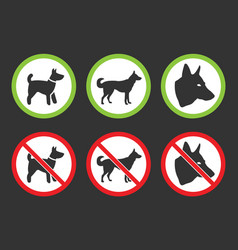 no dogs icons dog prohibited and allowed signs vector image vector image