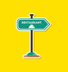 paper sticker on stylish background restaurant vector image vector image