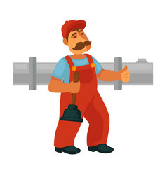 plumber repair sewerage pipeline flat vector image