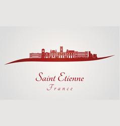 saint etienne skyline in red vector image vector image