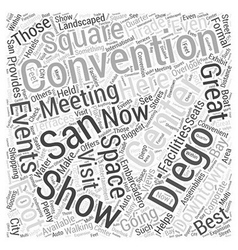 San diego convention center word cloud concept vector