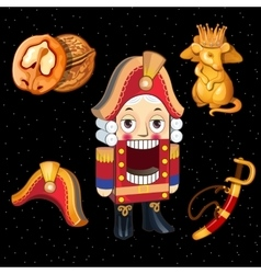 Set Nutcracker toy and accessories for it 5 icons vector image