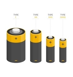 Set of batteries of different sizes vector