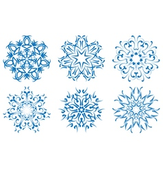 Snowflake blue flower on a white background set vector