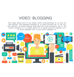 Video blogger cartoon flat concept computer vector