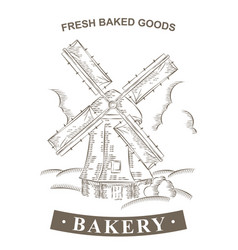 vintage windmill logo bakery design template vector image vector image