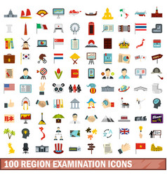 100 region examination icons set flat style vector image
