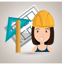 Woman architecture tools plans vector