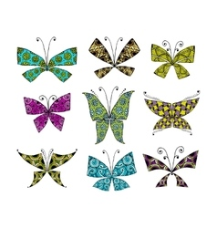 Colorful butterfly set for your design vector image