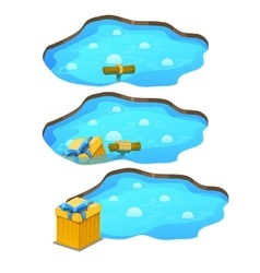 Game get gift box from the pond three stages vector