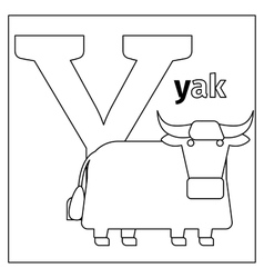 Yak letter y coloring page vector