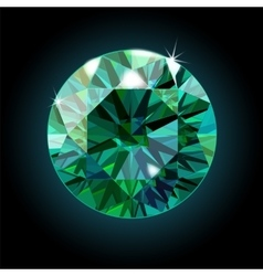 Brilliant emerald on a black background green vector