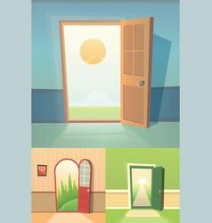 Open door cartoon collection set of four vector