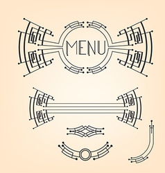 Art deco stylized menu decoration set vector