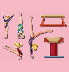 Sticker design for gymnastic players and bars vector