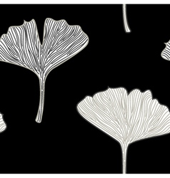 Ginkgo seamless interior wallpaper black white vector image