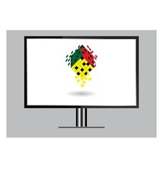 3d image of high definition tv isolated on grey vector