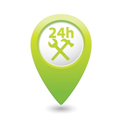 Car service 24h icon on green pointer vector