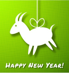 Goat paper on bright green canvas background vector