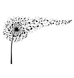 Music dandelion flower vector