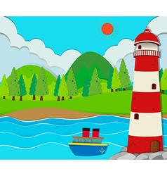 Ocean scene with lighthouse and ship vector