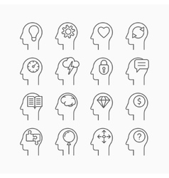 Human mind icons thin line style flat design vector image