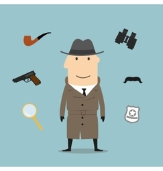 Detective and spy profession icons vector